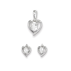Girls Birthstone Heart Jewelry - Genuine Diamond and White Topaz Birthstone - Earrings and Necklace Set - Sterling Silver Rhodium - Grow-With-Me® 16