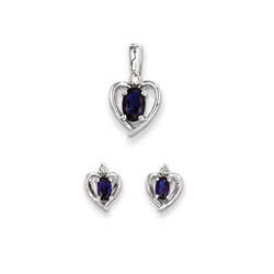 Girls Birthstone Heart Jewelry - Genuine Diamond & Created Blue Sapphire Birthstone - Earrings & Necklace Set - Sterling Silver Rhodium - Grow-With-Me® 16