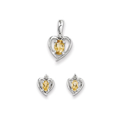 Girls Birthstone Heart Jewelry - Genuine Diamond & Citrine Birthstone - Earrings and Necklace Set - Sterling Silver Rhodium - Grow-With-Me® 16