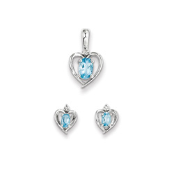 Girls Birthstone Heart Jewelry - Genuine Diamond & Blue Topaz Birthstone - Earrings and Necklace Set - Sterling Silver Rhodium - Grow-With-Me® 16
