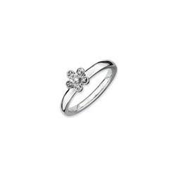 Gorgeous Flower Ring for Girls with Six Genuine Diamonds - Sterling Silver Rhodium - Size 6/