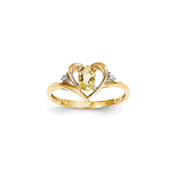 Girls Diamond Birthstone Heart Ring - Genuine Citrine Birthstone with Diamond Accents - 14K Yellow Gold - Size 5/