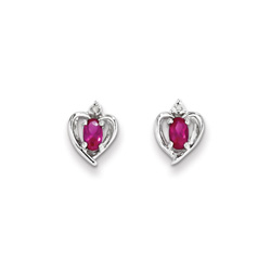 Girls Birthstone Heart Earrings - Genuine Diamond & Ruby Birthstone - 14K White Gold - Push-back posts/