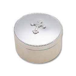 Blessed - Engravable Large Round Tarnish-Resistant Sterling Silver-Plated Jewelry Box with Beautiful Ornate Cross - BEST SELLER/
