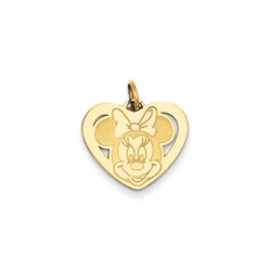 Disney Minnie Mouse Charm / Pendant (Small) – 14K Yellow Gold - Engravable on back - Add to a bracelet or necklace/