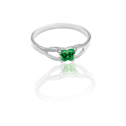 Teeny Tiny Butterfly Ring for Girls by Bfly® - May Emerald CZ Birthstone - Sterling Silver Rhodium - Size 4/