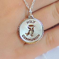 Holy Communion Pendant Necklace for Girls - Sterling Silver Rhodium - 18-inch sterling silver rhodium chain included - Engravable - BEST SELLER/