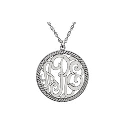 Circle Monogram Medium Round 25mm Rope Pendant Necklace - Sterling Silver Rhodium - Chain included - Special Order/