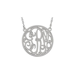 Girls Medium 25mm Round Script Monogram Pendant Necklace - Sterling Silver Rhodium - Chain included - Special Order/