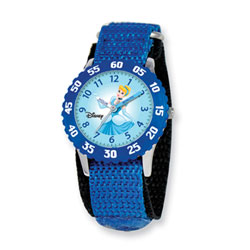Girls Disney Princess Time Teacher Watch - Featuring Cinderella's Kind-Hearted Princess Cinderella - Adjustable blue Velcro watch band - Fits toddler to preteen girls/