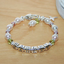 Hadley™ by My First Pearls® – Grow-With-Me® designer original freshwater cultured pearl name bracelet – Personalize with gemstones & charms/