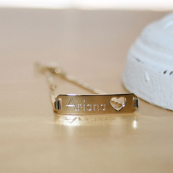 Adorable Kids Heart Engravable ID Bracelet - Solid 14K Yellow Gold - Curb Link - Size 5.5