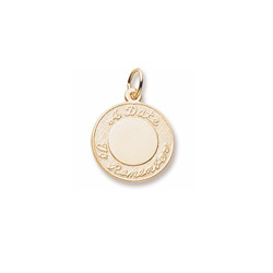 A Date to Remember – Medium Round Charm 10K Yellow Gold – Engravable on Front and Back - Add to a bracelet or necklace/