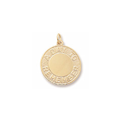 A Day to Remember – Large Round Charm 10K Yellow Gold – Engravable on Front and Back - Add to a bracelet or necklace/