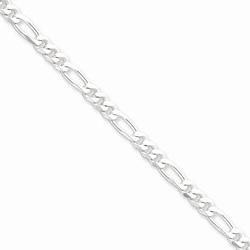 Silver 4.25mm Figaro Necklace Chain - 16