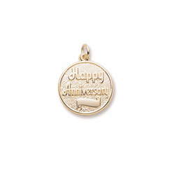 Happy Anniversary - Large Round Charm 10K Yellow Gold – Engravable on Front and Back - Add to a bracelet or necklace/