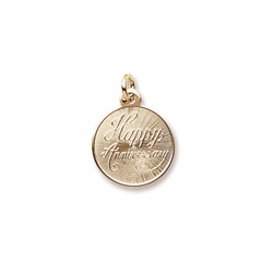 Happy Anniversary - Small Round Charm 10K Yellow Gold – Engravable on Back - Add to a bracelet or necklace/