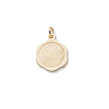 Happy Anniversary – Ornate Small Round Charm 10K Yellow Gold - Engravable on Back - Add to a bracelet or necklace/