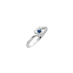 Sweetheart Birthstone Ring - September Birthstone - Genuine Blue Sapphire - 14K White Gold - Size 4½ Child Ring - BEST SELLER/