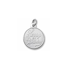 Happy Birthday - Small Round Sterling Silver Rembrandt Charm – Engravable on back - Add to a bracelet or necklace /
