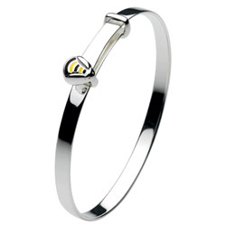 Bumble Bee Sterling Silver Rhodium Bangle Bracelet for Girls - Size 5.25