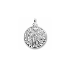 Sweet 16 - Birthday Girl - Large Round Sterling Silver Rembrandt Charm – Engravable on back - Add to a bracelet or necklace /