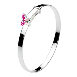 Pink Butterfly Sterling Silver Rhodium Bangle Bracelet for Girls - Size 5.25