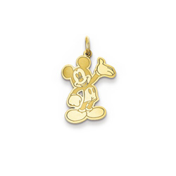Disney Mickey Mouse Charm / Pendant (Small) – 14K Yellow Gold - Engravable on back - Add to a bracelet or necklace/