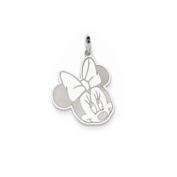 Disney Minnie Mouse Charm / Pendant (Small) – Sterling Silver Rhodium - Engravable on back - Add to a bracelet or necklace - BEST SELLER/