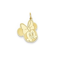 Disney Minnie Mouse Charm / Pendant (Small) – 14K Yellow Gold - Engravable on back - Add to a bracelet or necklace - BEST SELLER/