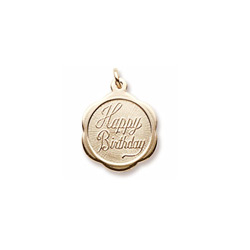 Happy Birthday - Small Ornate Round 14K Yellow Gold Rembrandt Charm – Engravable on back - Add to a bracelet or necklace /