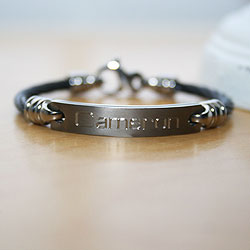Black Titanium Baby / Toddler Personalized Boy's Bracelet - Size 4.5 inch - Handsome Gift for Baby Boys - BEST SELLER/