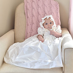 Abigail Ella - Handmade Heirloom Dupioni Silk Swarovski Crytal Christening Gown with Matching Christening Bonnet Set - Size XS (3 - 6 months)/