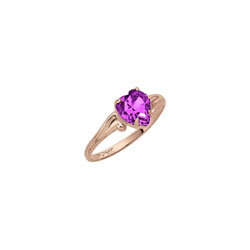 Little Girl's Heart Birthstone Ring - February Birthstone - Synthetic Amethyst - 10K Yellow Gold - Size 4½ Child Ring - BEST SELLER/