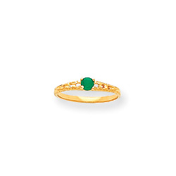 May Birthstone - Genuine Emerald 3mm Gemstone - 14K Yellow Gold Baby/Toddler Birthstone Ring - Size 3/