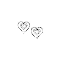 Girls Adorable Cubic Zirconia (CZ) Heart Earrings - Sterling Silver Rhodium - Screw Back CZ Heart Earrings for Baby, Toddler, and Child - Safety threaded screw back post - BEST SELLER/