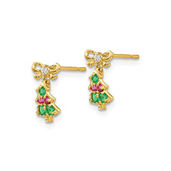 Super Cute Colorful Christmas Tree Earrings for Girls - Red, Green, and White Cubic Zirconia (CZ) - 14K Yellow Gold - Push-Back Posts with Silicone Earring Backs - BEST SELLER/