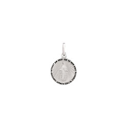 Miraculous Medal Pendant Necklace - Small 13mm Round Pendant - Sterling Silver Rhodium pendant - 18-inch stainless steel chain included - Engravable - BEST SELLER/
