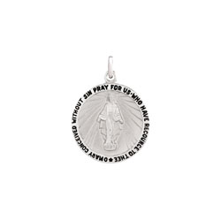 Miraculous Medal Pendant Necklace - Large 21mm Round Pendant - Sterling Silver Rhodium pendant - 20-inch stainless steel chain included - Engravable - BEST SELLER/