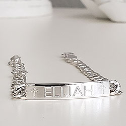 Boy's Jewelry Favorite for Tweens and Teens - Personalized ID Sterling Silver Bracelet - Engravable on the front and back - Size 7.25