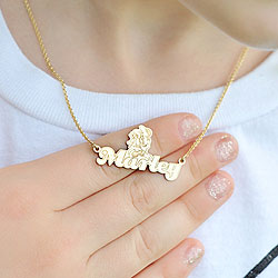 Disney Minnie Mouse 14K Yellow Gold Name Necklace - Nameplate and 14