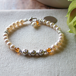 Abby Rose for Mom™ - Grow-With-Us™ Freshwater Cultured Pearl and Sterling Silver Mother's, Grandmother's, Generations Bracelet - Add up to Three Names and Birthstone Pairs to Personalize - BEST SELLER/