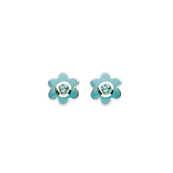 May Birthstone - Genuine Green Quartz Adorable Flower Girls Earrings - Sterling Silver Rhodium/