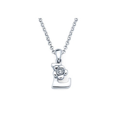 Adorable Small Letter L Pendant - Diamond Girls Initial Necklace - Sterling Silver Rhodium Chain and Pendant /