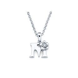 Adorable Small Letter M Pendant - Diamond Girls Initial Necklace - Sterling Silver Rhodium Chain and Pendant /