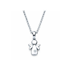 Angel Pendant - Diamond Girls Necklace - Sterling Silver Rhodium - 16
