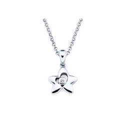 Star Pendant - Diamond Girls Necklace - Sterling Silver Rhodium/
