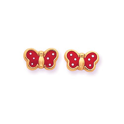 Perfect Little Butterflies - 14K Yellow Gold Red with White Dots Girls Butterfly Earrings/