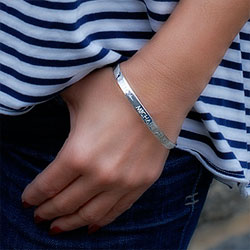 Quotations from the Heart™ - Sterling Silver Engravable Teen's / Woman's Cuff Bracelet - Size 7