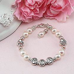 Daisies in Bloom™ by My First Pearls® – Grow-With-Me® designer original freshwater cultured pearl name bracelet – Personalize with gemstones & charms/